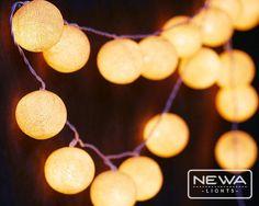 20 Cream Cotton Ball String Lights Fairy Lights от NewaLights