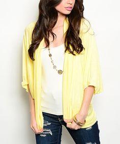 Yellow Puff-Sleeve Open Cardigan