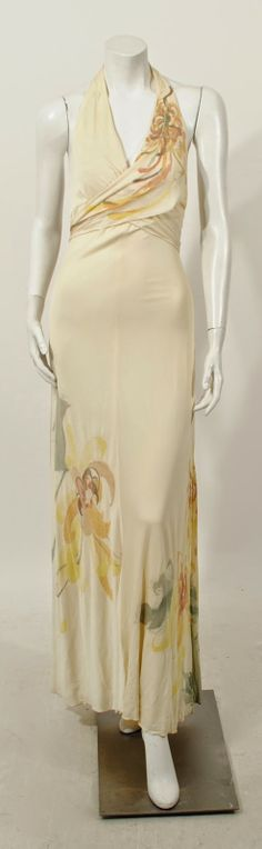 Holly Harp Cream jersey floral painted gown with cape, c. 1970's. Modern size 4.