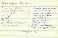 Pizza Dough - a vintage handwritten recipe card. Retro Recipes, Vintage Recipes, Pie Recipes, Cooking Recipes, Recipe Cards, Recipe Box, Love Pizza, Cook Books, Vintage Cookbooks