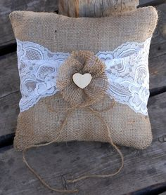 Burlap and Lace Ring Bearer Pillow by BigRiverCrafts on Etsy