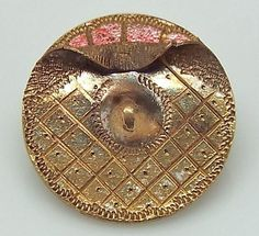 SMALL ANTIQUE INCISED GILT BRASS WALLPAPER HANDKERCHIEF FOLD BUTTON TINTED #1116