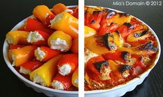 Baked Stuffed Mozzarella Sweet Peppers in Marinara Sauce