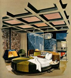"""The May 1962 issue of Playboy magazine contained their posh plans for exciting urban living – a three level Playboy Town House. This modern town house was billed as a """"modishly swinging mano… Interior Design Sketches, Interior Rendering, Interior And Exterior, Mid Century Decor, Mid Century House, Architecture Design, Deco Retro, Vintage Space, Retro Futuristic"""