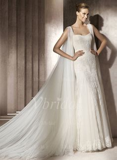 Wedding Dresses - $180.69 - Trumpet/Mermaid Sweetheart Watteau Train Tulle Lace Wedding Dress With Ruffle Appliques Lace (00205002062)