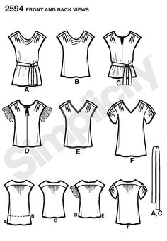 Simplicity 2594: tops  fabrics = cottons, seersucker, silks, charmeuse, challis, crepe back satin, crepe de chine, gauze, crinkled gauze, voile, double georgette, handkerchief linen, lightweight linen & blends