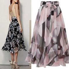 Women skirts elegant long skirt Chiffon Street Style Floral A-Line Mid-Calf Empire clothes fashion holiday spring summer Chiffon Floral, Chiffon Skirt, Long Tutu Skirt, Maxi Skirt Boho, Tulle Skirts, Jupe Swing, Swing Skirt, Boho Fashion, Fashion Outfits