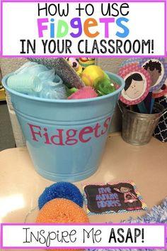 ideas for incorporating fidgets into the classroom to help student focus. Calm Classroom, Inclusion Classroom, Classroom Behavior, Autism Classroom, Special Education Classroom, Kindergarten Classroom, Future Classroom, Classroom Activities, Classroom Organization