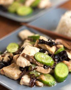 Stir-Fried Pork with Cucumber and Asian Mushrooms