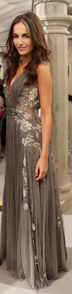 Exquisite Alberta Ferretti Gauze & Chiffon V-Neck Gown with Bead & Lace Embellishments.