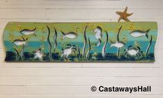 Seahorse Crab Art Panel Sign Fish in Sea Glass Colours Beach Lake House Decor by CastawaysHall by CastawaysHall on Etsy https://www.etsy.com/listing/232337361/seahorse-crab-art-panel-sign-fish-in-sea