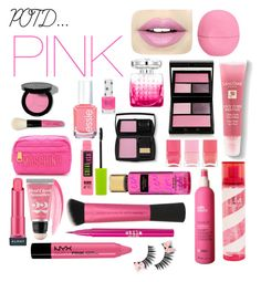 """POTD: PINK"" by rach-kaye-style ❤ liked on Polyvore featuring beauty, Fiebiger, Eos, Bobbi Brown Cosmetics, Essie, Jimmy Choo, Surratt, Moschino, Lancôme and Pink Sugar"