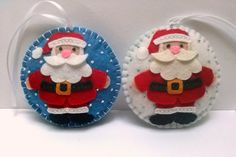 Felt christmas ornament - Santa Claus snowing ornament/ wool blend felt - white…