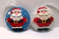Felt christmas ornament - Santa Claus snowing ornament/ wool blend felt - white…