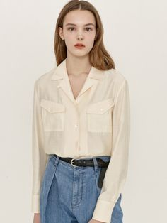 Bow Tops, Pocket, Cream, Clothes For Women, Blouse, Contrast Color, Model, Sleeves, Shirts