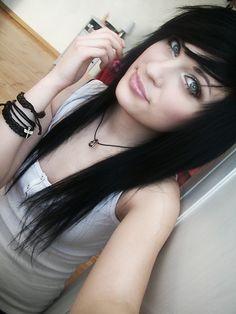 Black scene hair <3-- I love black hair against pale skin and light eyes....so beautiful!!!
