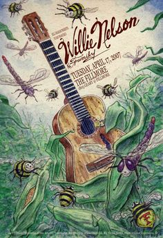 Original concert poster for Willie Nelson at The Fillmore in San Francisco, CA in 2007. 13 x 19 inches. Art by Tom Murray. Light handling ma...