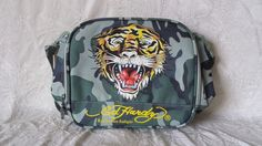 19360eb245 Ed Hardy Misha Camo Tiger Bookbag Lunch Messenger Bag NWOT Christian  Audigier  EdHardy Ed Hardy