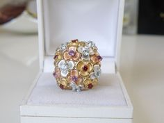 14kt Rose Yellow Gold Sterling Silver Forget me Not Flower Aquamarine Ring #PrimeArtJewelry #Statement