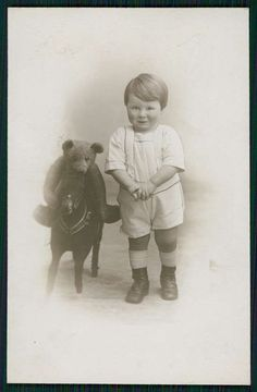 Teddy Bear Riding Toy Horse Child Original Old 1910s Real Photo Postcard   eBay