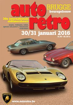 Join ‪#‎Auto_Retro‬ Brugge this weekend  The 36th edition of Auto Retro takes place at the Beurshalle in Bruges, presenting a historical review of ‪#‎Lamborghini‬ cars. Auto Retro is the place to be for sales, exchanges and bargains of old timer and special cars, motorcycles and miniatures, accessories and car parts, literature, and all kinds of car related items. Someting for you?  http://www.autoretro.be/en/home/ http://www.hotelnavarra.com/thingstodoinbruges.html