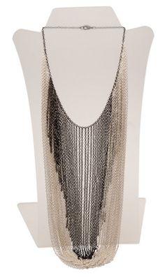 Multi-Row Chain Bib Long Necklace