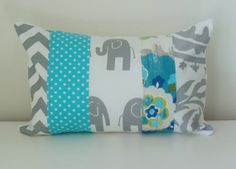 Modern Patchwork Nursery Pillow Cover, Kids Decor, 12 x 18 Inches, Gender Neutral, Grey and Teal Blue, Elephants