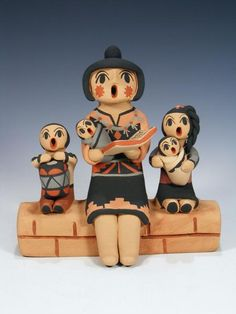 Jemez Pueblo Pottery Four Baby Storyteller