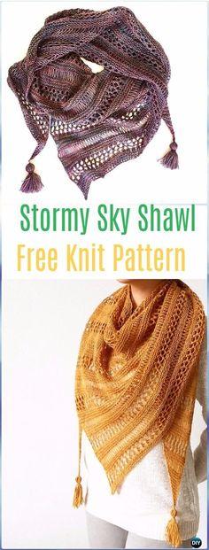 Knit Stormy Sky Shawl Free Pattern - Knit Scarf & Wrap Shawl Patterns