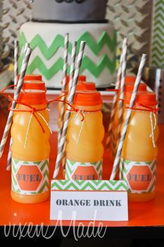 Orange Drinks at a Construction Party #construction #partydrinks