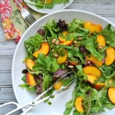 Peach Salad with Basil Oil - A light and refreshing summer salad featuring peaches, walnuts and fresh basil oil