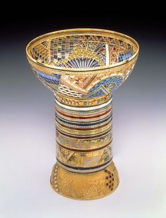 Chalice by Valeri Timofeev. Silver and gold, garnets, pearls, turquoise, hematite, tiger's eye, filigree wire, and plique-a-jour enamel. (via The Smithsonian Museum)