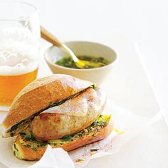 Argentine-Style Sausage Sandwiches Recipe from Sunset (great Chimichurri sauce)