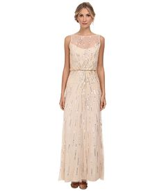 Aidan Mattox Illusion Neck Beaded Gown Champagne - Zappos.com Free Shipping BOTH Ways