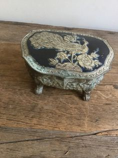 Vintage Peacock Bird Casket Jewelry Box made in Occupied Japan