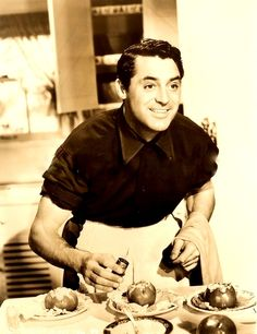 Cary Grant. Happy. And cooking.