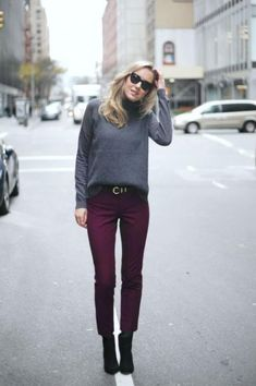 Gray sweater, burgundy pants, ankle boots, but no belt Burgundy Pants Outfit, Ankle Pants Outfit, Ankle Boots With Jeans, How To Wear Ankle Boots, Boots For Work, Ankle Boot Outfits, Ankle Boots Outfit Winter, Dress Pants, Harem Pants