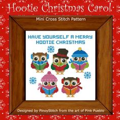 The Hooties have come to sing you a Christmas Carol! Have fun stitching these cute and funny Hooties for the holidays.