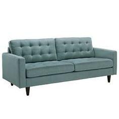Modern Light Blue Button Upholstered Sofa FMP25655
