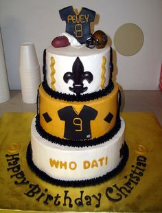 New Orleans Saints Birthday Cake Fleur De Lis Jersey