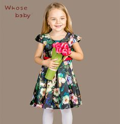 2016 Girls Print Winter Christmas Dresses Kids Flowers Costumes With Belt Fashion Princess Clothes Children Autumn Clothing