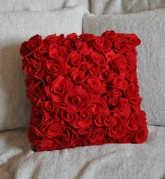 How about a rose pillow to accentuate your home? This is just one of the beautiful flower's of the month! Red Pillows, Throw Pillows, Decor Pillows, Red Decorative Pillows, Saint Valentine, Valentines, Best Decor, Red Bedding, Bedroom Red