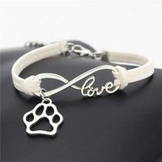 Antique Silver Dog Paw Charm Pendant Infinity Love Leather Bracelets for Women Men Dog Lovers Gifts Bear Claw Jewelry Infinity Charm, Infinity Love, Love Bracelets, Fashion Bracelets, Leather Bracelets, Charm Bracelets, Silver Cat, Dog Jewelry, Dog Lover Gifts