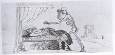 A self caricature of Branwell Bronte in bed waiting to die. You can see Death coming to get Branwell, his name on the bed and Haworth Church and the cemetery in the background on the right. (Branwell was born on 26 June Victorian Literature, Bronte Sisters, Cat Reading, Famous Novels, Charlotte Bronte, Today In History, Jane Eyre, Hair Jewelry, Victorian Era