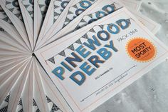 Cute certificates for the Pinewood Derby