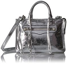NWT Rebecca Minkoff Micro Regan Leather Satchel Crossbody Bag Gray $245