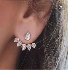 Joyería coreana 2016 Nuevo Cristal Delantero Trasero de Doble Cara Chaqueta Oreja Piercing Stud Pendientes Para Las Mujeres de Moda Earing Koyle
