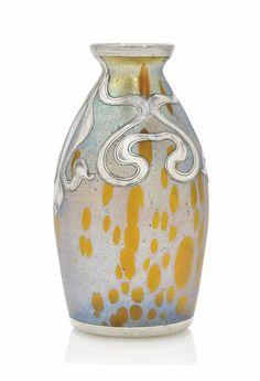 A Loetz iridescent glass vase with silver applique, circa 1900.