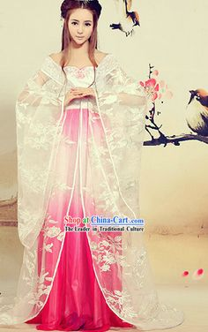 Ancient Chinese White Beauty Floral Dress