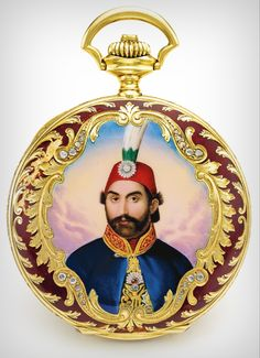 **Edward Prior RETAILED BY NACIB K. DJEAZVEDIJIAN CONSTANTINOPLE: YELLOW GOLD, ENAMEL AND DIAMOND-SET HUNTING CASED WATCH WITH PORTRAIT OF THE SULTAN ABDULMECID I MADE FOR THE TURKISH MARKET NO. 1584980 CIRCA 1900